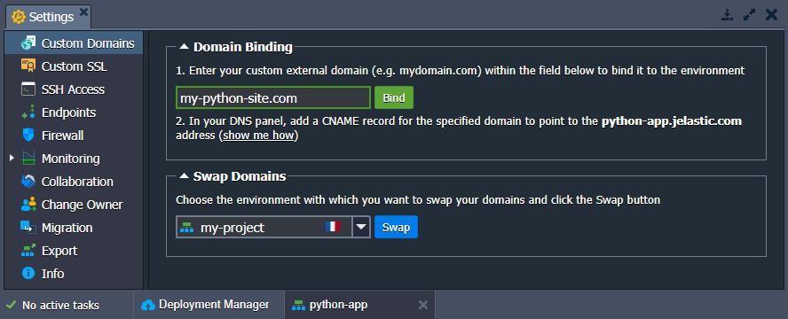Custom domain for python