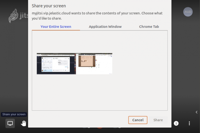 Jitsi share screen